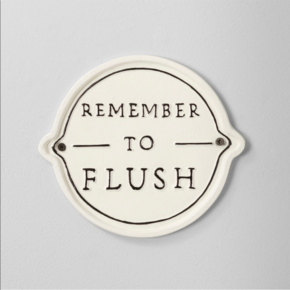 Remember To Flush' Wall Sign White/Black